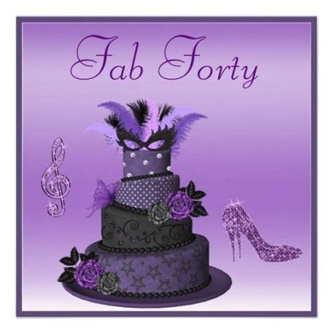fab 40 purple diva cake sparkle heels birthday card