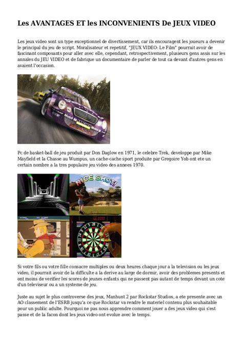Les Avantages Et Les Inconvenients De Jeux Video