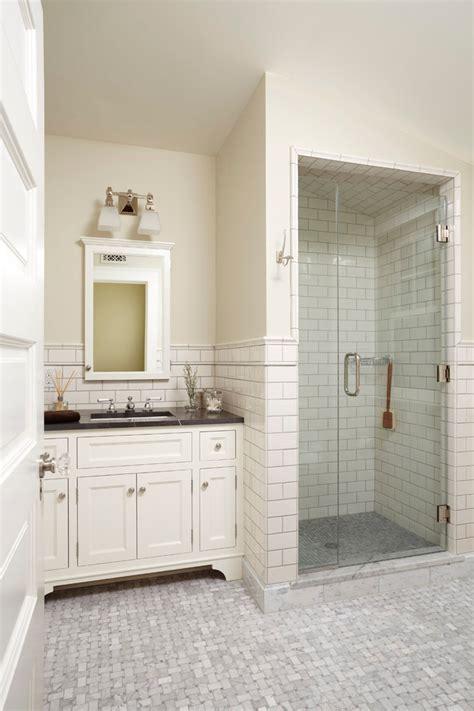 tile shower stalls bathroom farmhouse with nook sloped