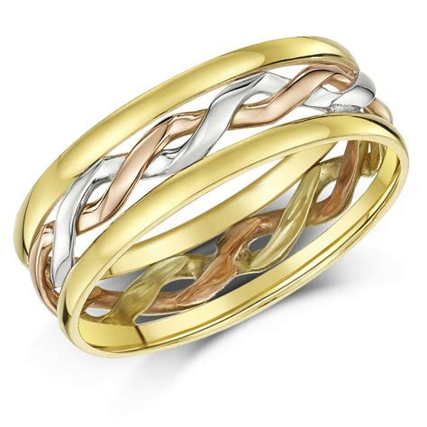 celtic ring 9ct gold 3 colour made 6mm wedding ring band ebay
