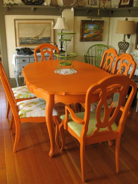 how to paint a dining room table with chalk paint chalk painted edwardian style dining room table in orange