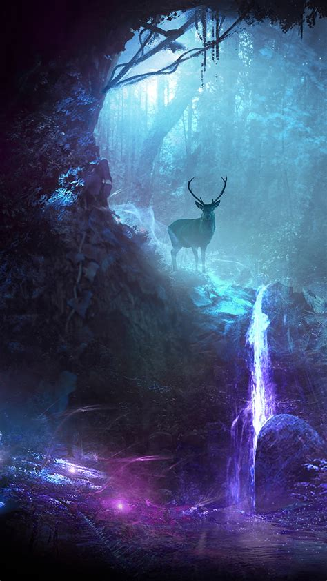 wallpaper deer waterfall surreal neon cgi hd