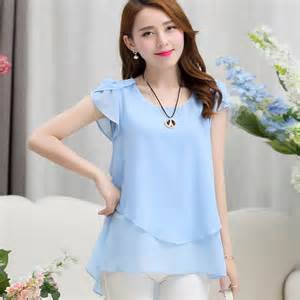 Womens double irregular solid shirts Women Chiffon blouses 2016 New Summer style Fashion casual ladies Tops Plus Size XXXXXL - Acadia Premium Products