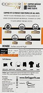 Copper Fit Size Chart Knee Copper Fit Medium Size Copper Infused Knee Sleeve Uni