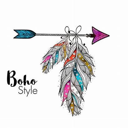 Boho Feather Arrow Clipart Bohemian Vector Ethnic