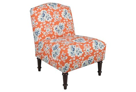 clark slipper chair orange blue floral from one