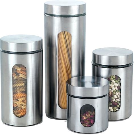 Kitchen Canisters With Windows, Set Of 4, Stainless Steel