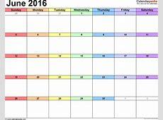 Easy Fill In Calendar June 2016 Calendar Template 2018