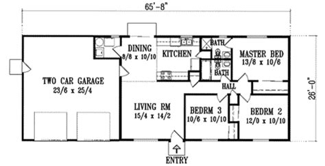 Ranch Style House Plan  3 Beds 200 Baths 1125 Sqft Plan