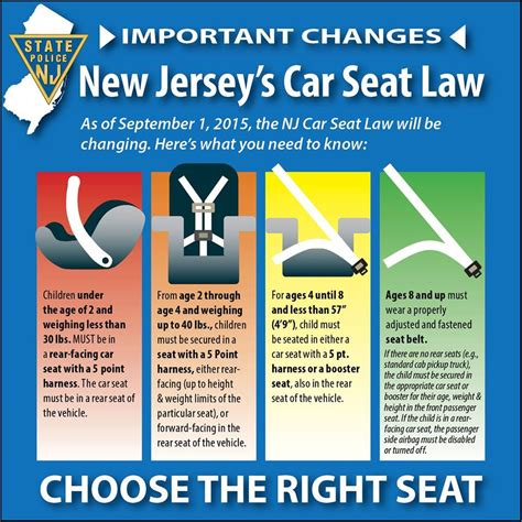 car seat laws child safety seat laws nj changes