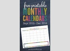 Print Free 2016 Monthly Calendar Calendar Template 2018