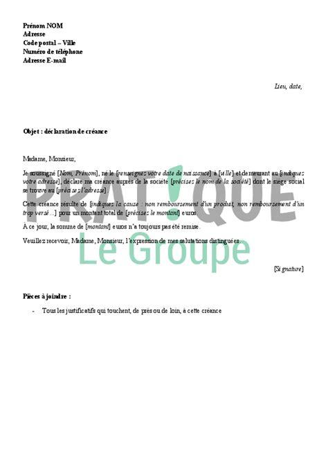 creance pour cuisine lettre de déclaration de créance pratique fr