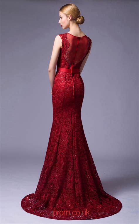 Burgundy Lace Mermaid Illusion Floor Length Prom Dress ...