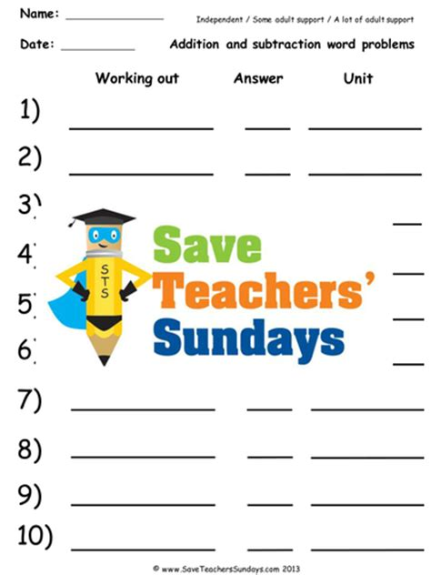 addition and subtraction word problems worksheets lesson