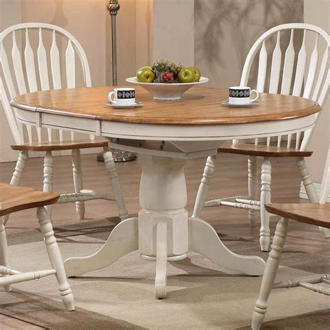 missouri  dining table antique white rustic oak