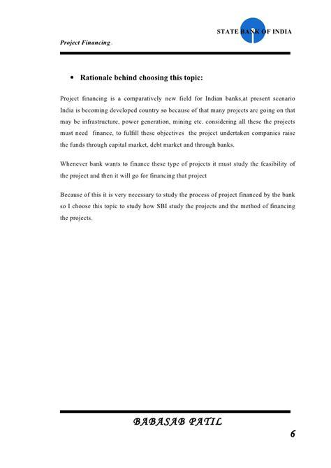 project financed  sbi project report mba finance