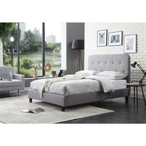 Grey Tufted Bed by Hodedah Gray Size Upholstered Panel Bed With Tufted