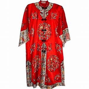 Ravishing Red Silk Embroidered Robe or Kimono - over 15 ...