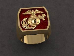 marine corps gold ring with red background With marine wedding rings