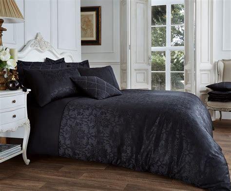 And Black Duvet Set by Vincenza Jacquard Duvet Set Black