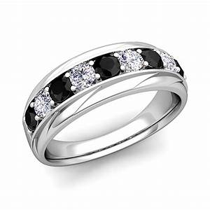 black and white diamond mens wedding band ring in 18k gold With mens wedding rings black diamonds