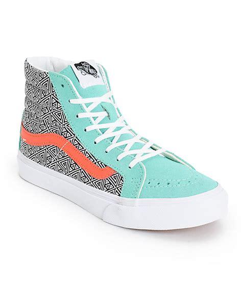 Vans Girls Sk8 Hi Slim Geo Cockatoo & Hot Coral Skate