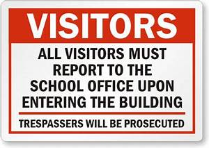 school visitors signs With all visitors must sign in template