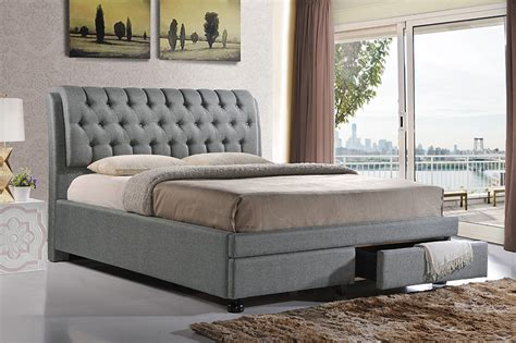 6134 baxton studio king bed baxton studio ainge contemporary button tufted grey fabric