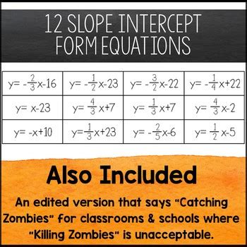 graphing lines zombies slope intercept form  amazing