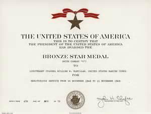 Vietnam Bronze Star Certificate