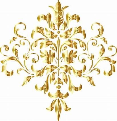 Gold Golden Background Damask Clipart Transparent