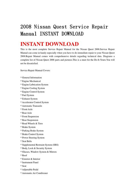 service and repair manuals 2008 nissan quest lane departure warning 2008 nissan quest service repair manual instant download