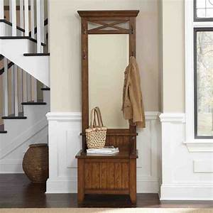 Hall Tree Storage Bench with Mirror - Home Furniture Design