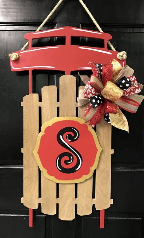 sled door hanger winter door decorations door decorations christmas door hanger