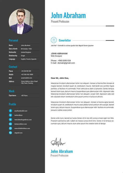professional resume template cover design  indd