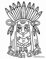 Indian Coloring Pages Chief Hellokids sketch template