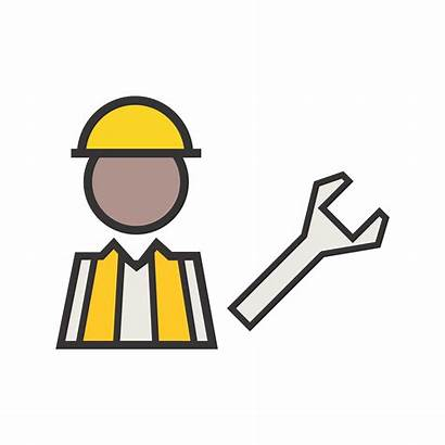 Maintenance Icon Under Line Vector Filled Construction