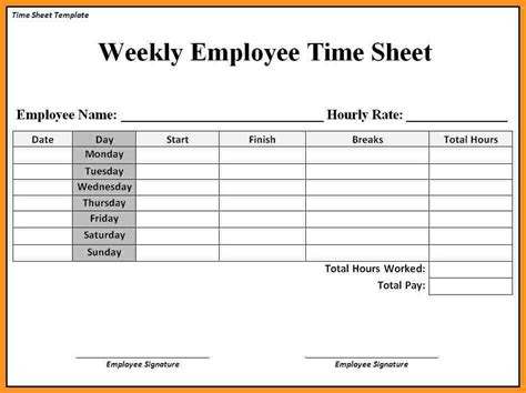 weekly employee time sheet 6 2016 timesheet template blank loan agreement