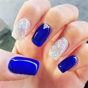Royal blue crystals wedding nail designs