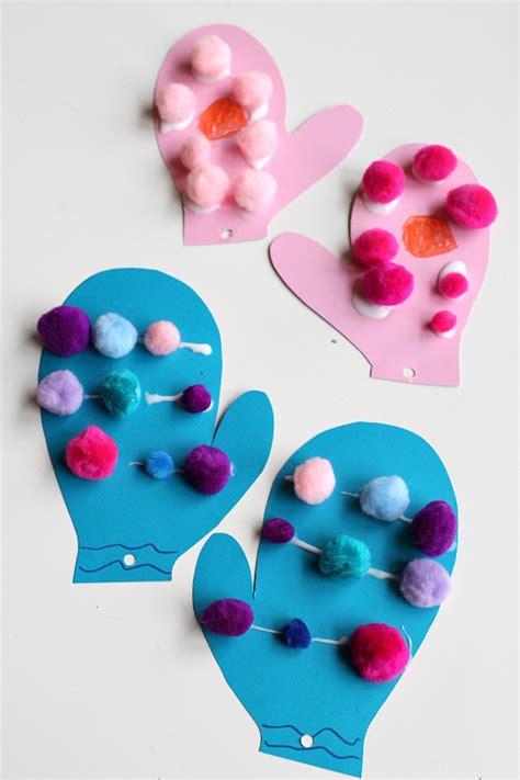 pom pom mittens craft 113 | mitten craft for preschool