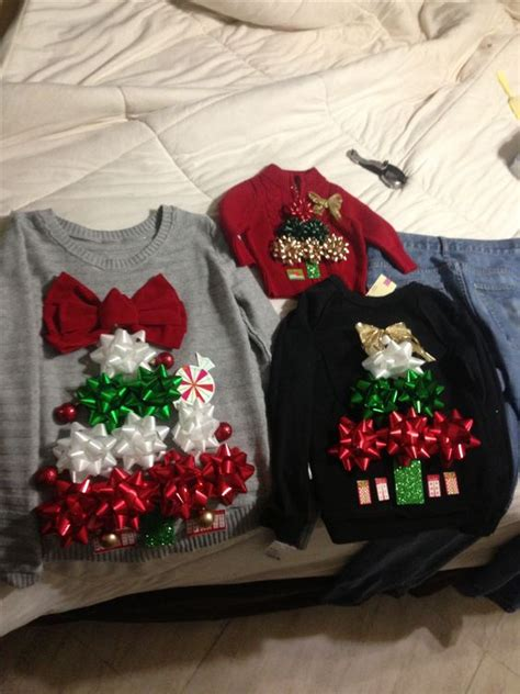 diy ugly christmas sweaters using gift bows and double