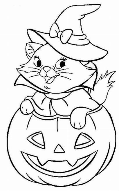 Coloring Halloween Cat Witch Disney Pumpkin Printable
