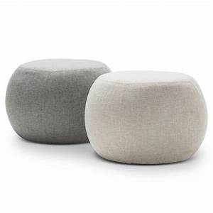 Venus Fabric Round Pouf Ottoman In Light Grey 35cm Buy
