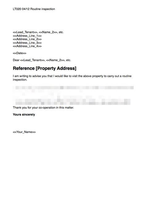 routine inspection template grl landlord association