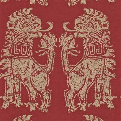 Gold Sanderson Lions Sicilian Wallpapers Teal Tapeta