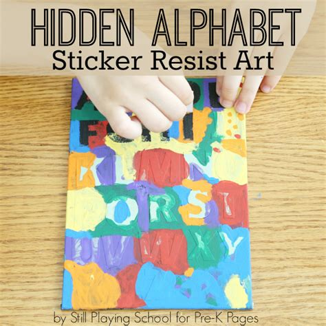 Alphabet Sticker Resist Art