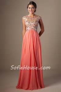 coral bridesmaid dresses with sleeves modest a line empire waist coral chiffon beaded prom dress cap sleeves