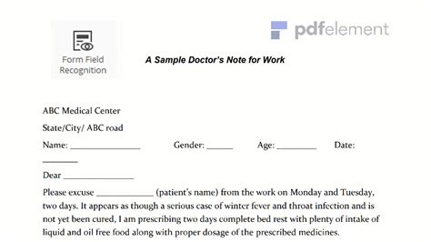 dr note template for work doctors note for work template create fill and print wondershare pdfelement