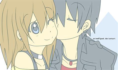 anime couple kiss on cheek kiss on my cheek xoxo by hiru masyo on deviantart