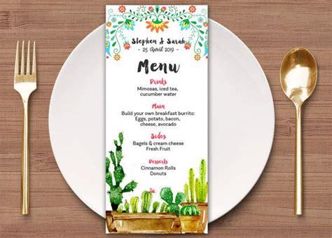 wedding menu template mexican fiesta menu template
